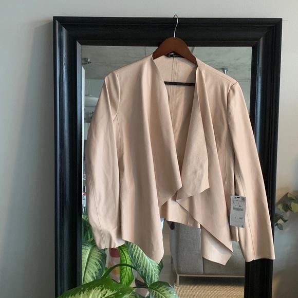 NWT Zara pink faux leather blazer